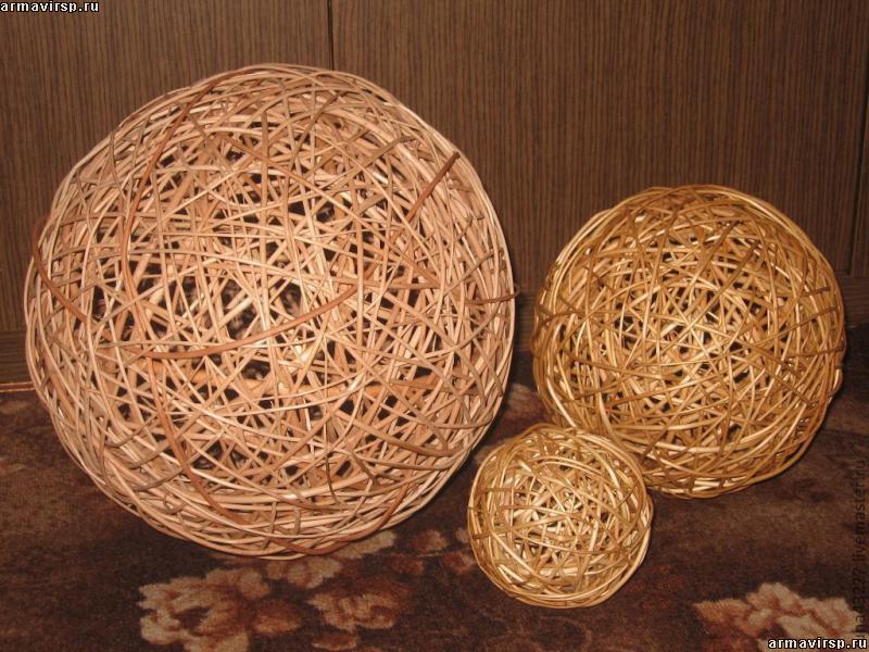Декоративные шары из лозы своими руками